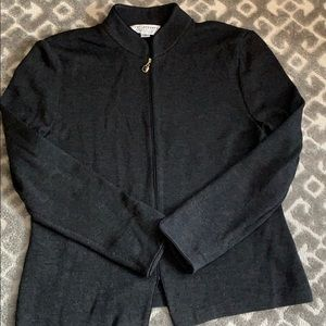 ST. JOHN Snatana knit dark gray zip sweater